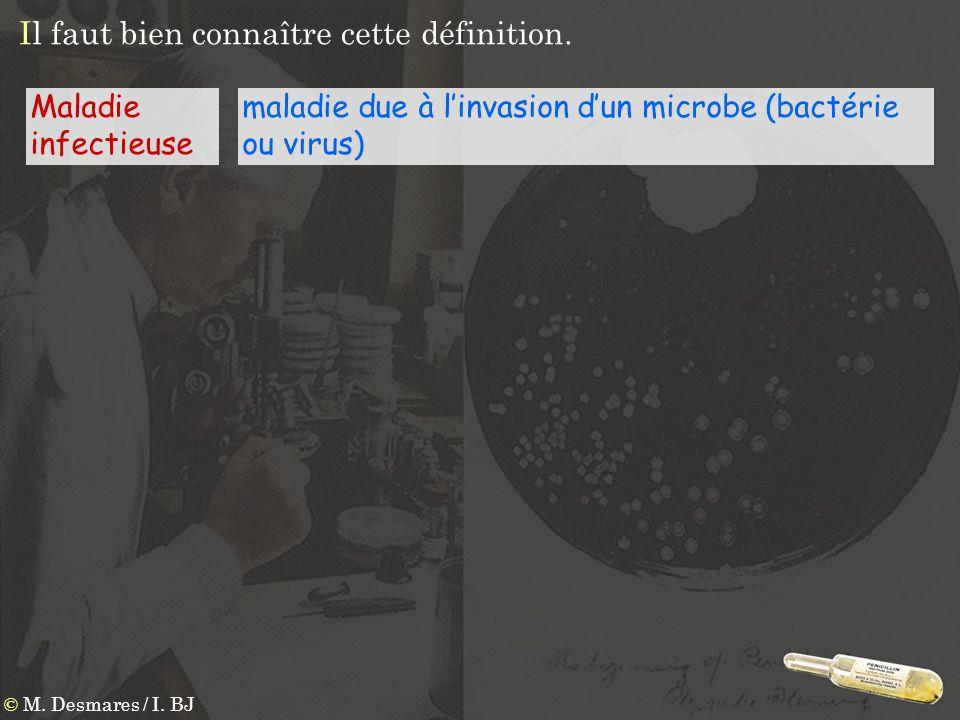 maladie due à linvasion dun microbe (bactérie ou virus) © M. Desmares / I. BJ Maladie infectieuse Il faut bien connaître cette définition.