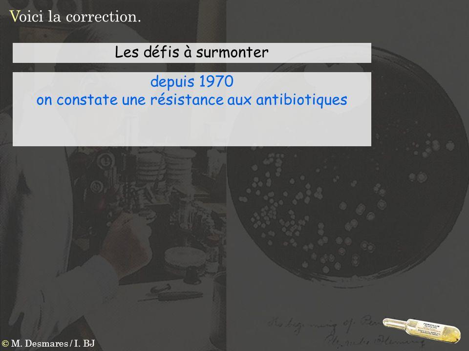 Voici la correction. © M. Desmares / I. BJ Les défis à surmonter depuis 1970 on constate une résistance aux antibiotiques