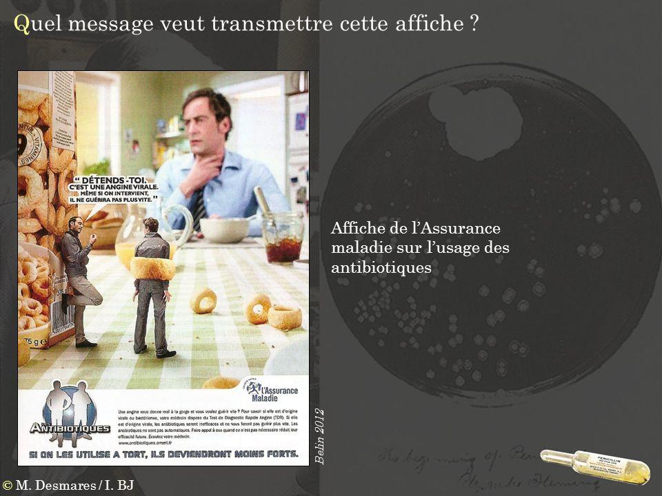 Quel message veut transmettre cette affiche ? Affiche de lAssurance maladie sur lusage des antibiotiques Belin 2012 © M. Desmares / I. BJ