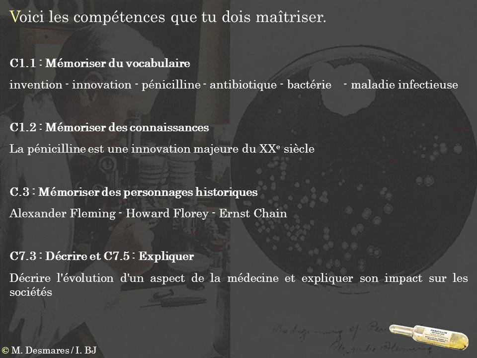 Voici les compétences que tu dois maîtriser. © M. Desmares / I. BJ C1.1 : Mémoriser du vocabulaire invention - innovation - pénicilline - antibiotique