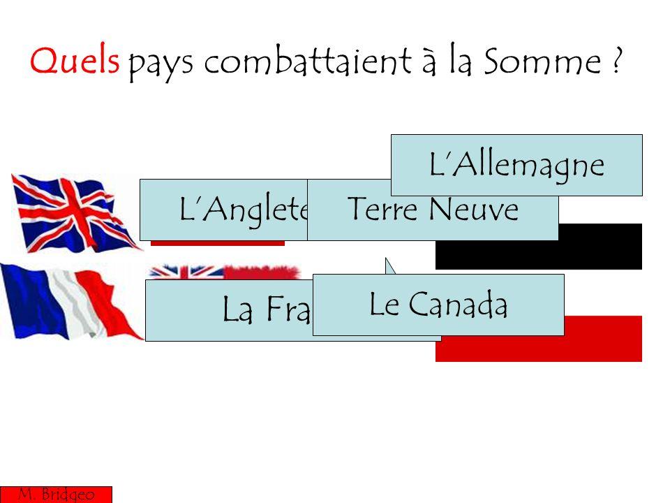 Quels pays combattaient à la Somme ? M. Bridgeo La France LAngleterre Le Canada Terre Neuve LAllemagne M. Bridgeo