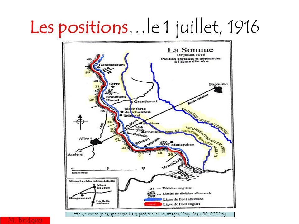 Les positions…le 1 juillet, 1916 M. Bridgeo http://www.pc.gc.ca/apprendre-learn/prof/sub/bh-vr/images/Vimy-Beau_80_0001.jpg M. Bridgeo