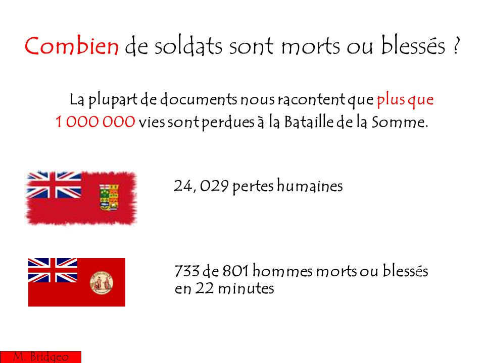 Combien de soldats sont morts ou blessés ? La plupart de documents nous racontent que plus que 1 000 000 vies sont perdues à la Bataille de la Somme.