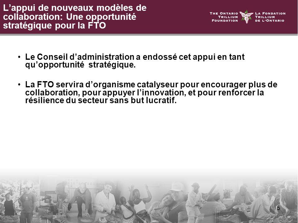 5 Lappui de nouveaux modèles de collaboration: Une opportunité stratégique pour la FTO Le Conseil dadministration a endossé cet appui en tant quopportunité stratégique.