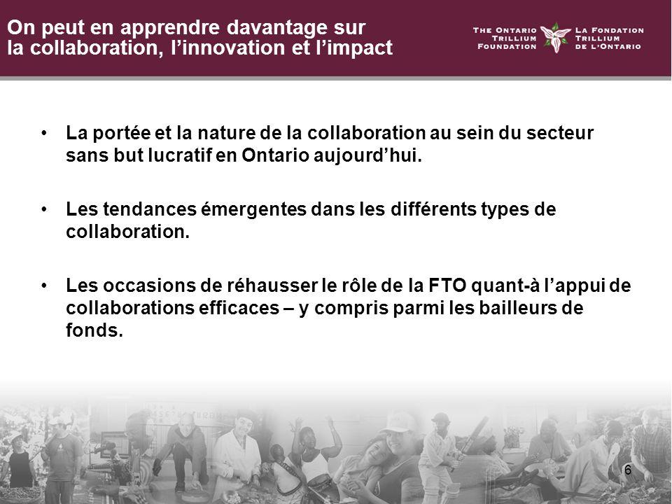 6 On peut en apprendre davantage sur la collaboration, linnovation et limpact La portée et la nature de la collaboration au sein du secteur sans but lucratif en Ontario aujourdhui.