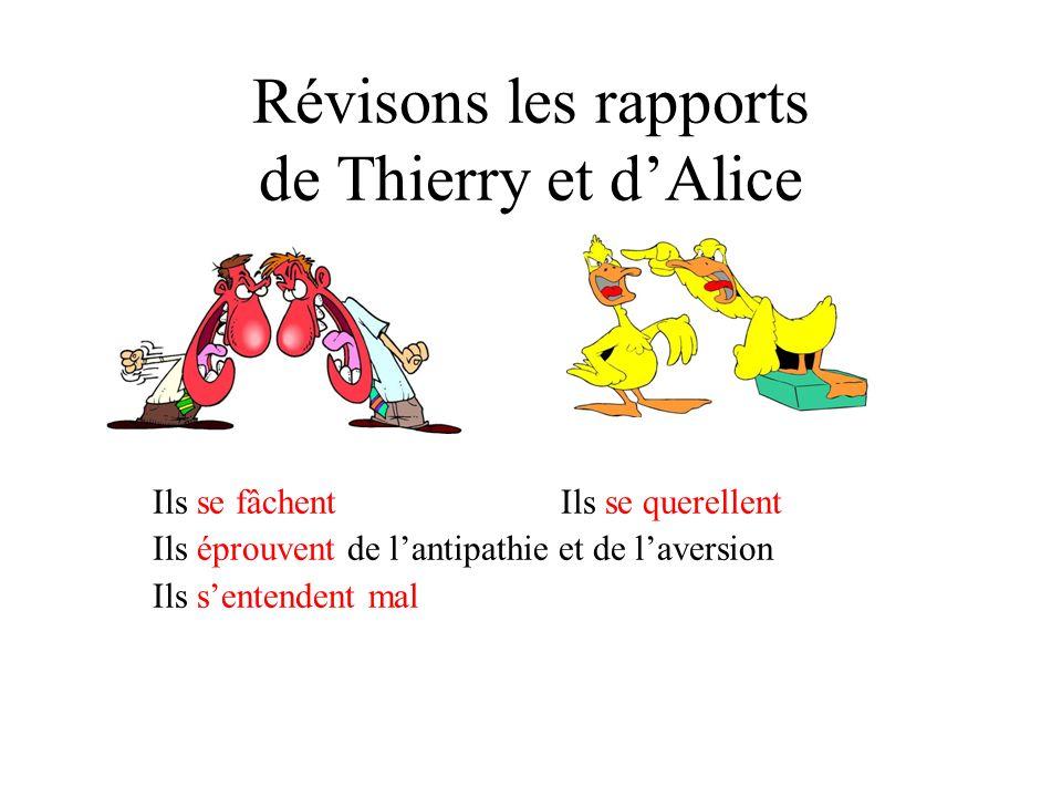 Les mauvaises relations Finalement Thierry et Alice éprouvent de lanimosité et de lantipathie lun pour lautre.