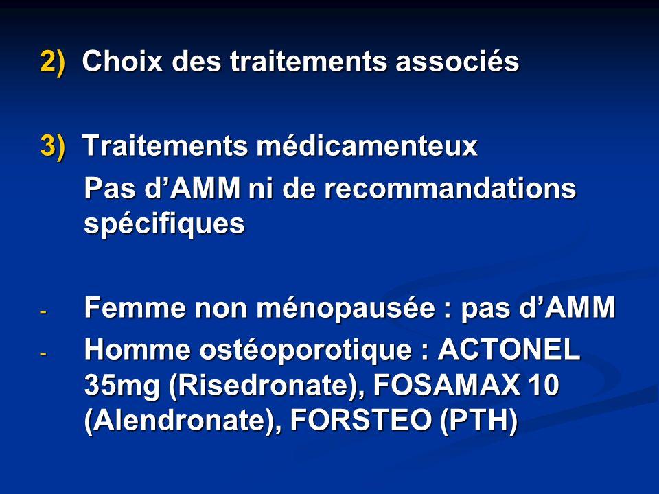 2) Choix des traitements associés 3) Traitements médicamenteux Pas dAMM ni de recommandations spécifiques - Femme non ménopausée : pas dAMM - Homme os
