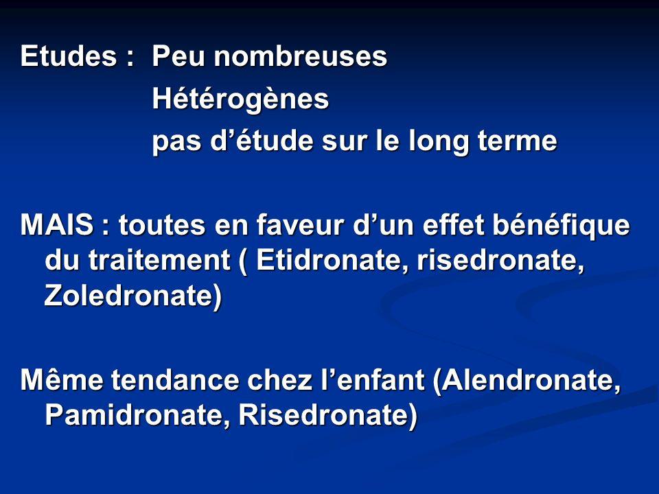 Etudes : Peu nombreuses Hétérogènes pas détude sur le long terme MAIS : toutes en faveur dun effet bénéfique du traitement ( Etidronate, risedronate,