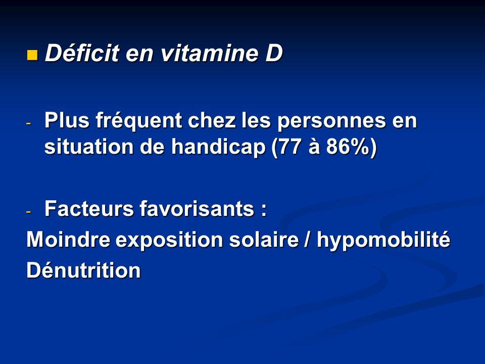 Déficit en vitamine D Déficit en vitamine D - Plus fréquent chez les personnes en situation de handicap (77 à 86%) - Facteurs favorisants : Moindre ex