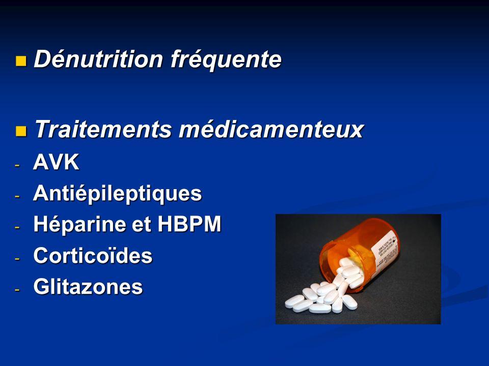 Dénutrition fréquente Dénutrition fréquente Traitements médicamenteux Traitements médicamenteux - AVK - Antiépileptiques - Héparine et HBPM - Corticoï