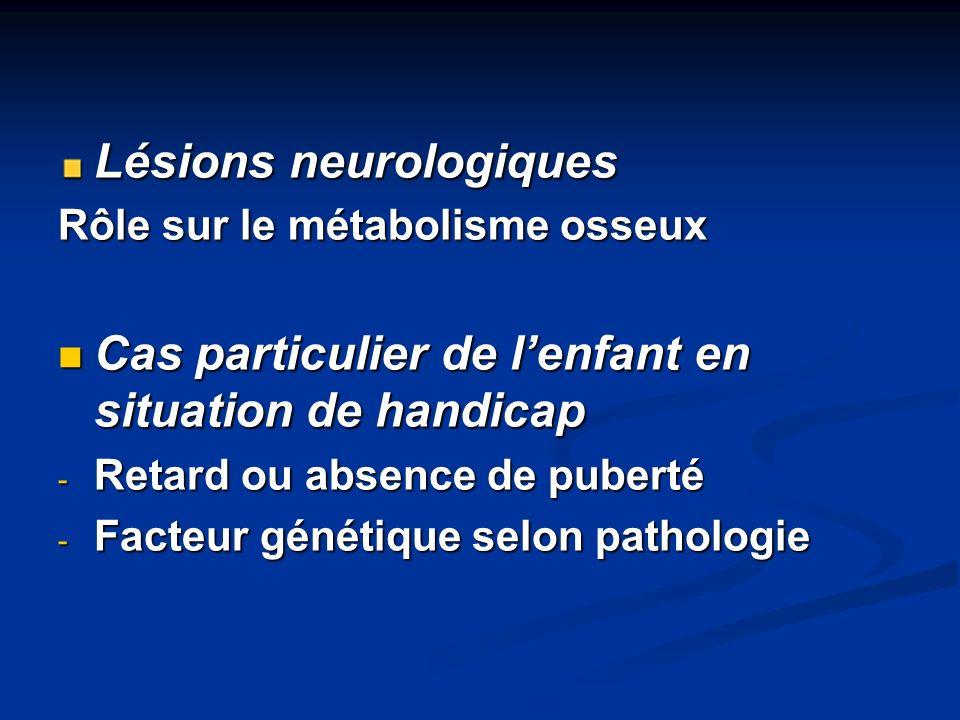 Lésions neurologiques Rôle sur le métabolisme osseux Cas particulier de lenfant en situation de handicap Cas particulier de lenfant en situation de ha