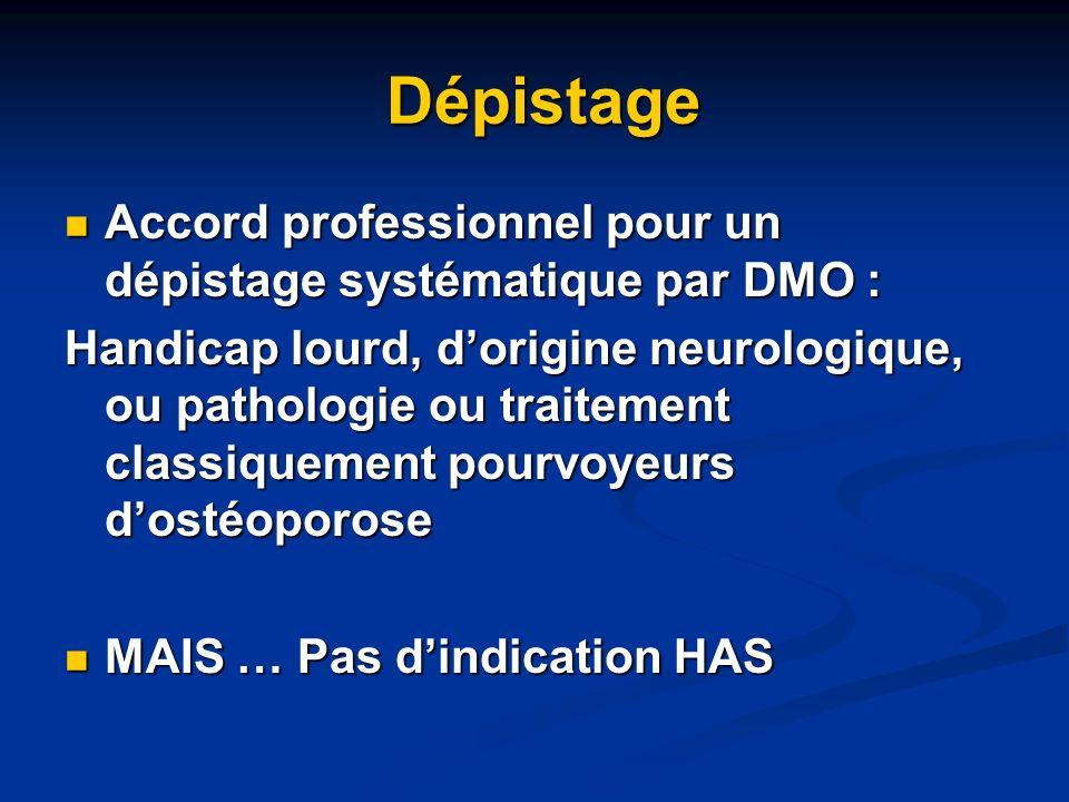 Dépistage Dépistage Accord professionnel pour un dépistage systématique par DMO : Accord professionnel pour un dépistage systématique par DMO : Handic