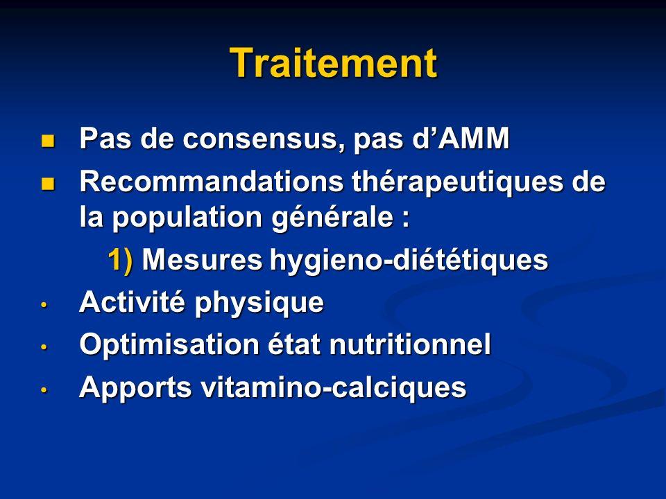 2) Choix des traitements associés 3) Traitements médicamenteux Pas dAMM ni de recommandations spécifiques - Femme non ménopausée : pas dAMM - Homme ostéoporotique : ACTONEL 35mg (Risedronate), FOSAMAX 10 (Alendronate), FORSTEO (PTH)