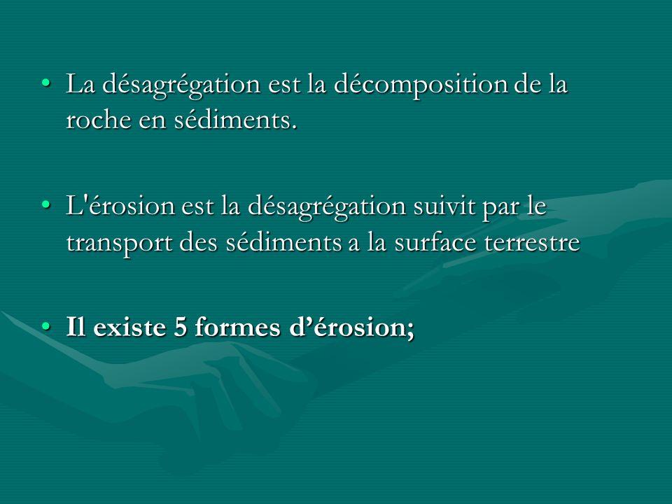 La désagrégation est la décomposition de la roche en sédiments.La désagrégation est la décomposition de la roche en sédiments. L'érosion est la désagr