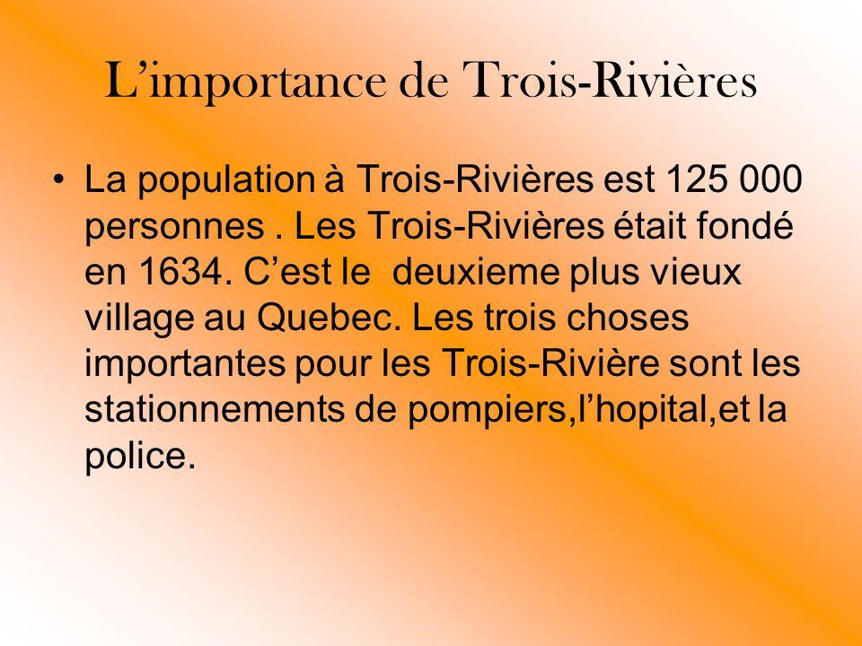 Limportance de Trois-Rivières La population à Trois-Rivières est 125 000 personnes.