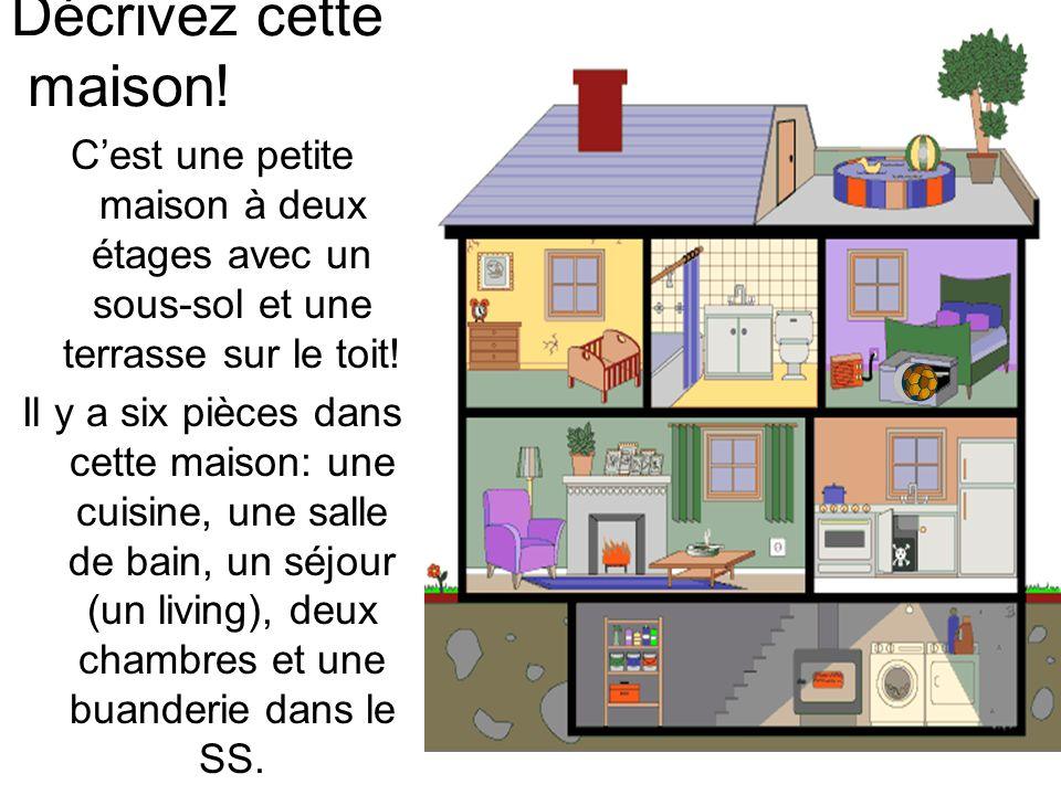 Décrivez cette maison! Cest une petite maison à deux étages avec un sous-sol et une terrasse sur le toit! Il y a six pièces dans cette maison: une cui