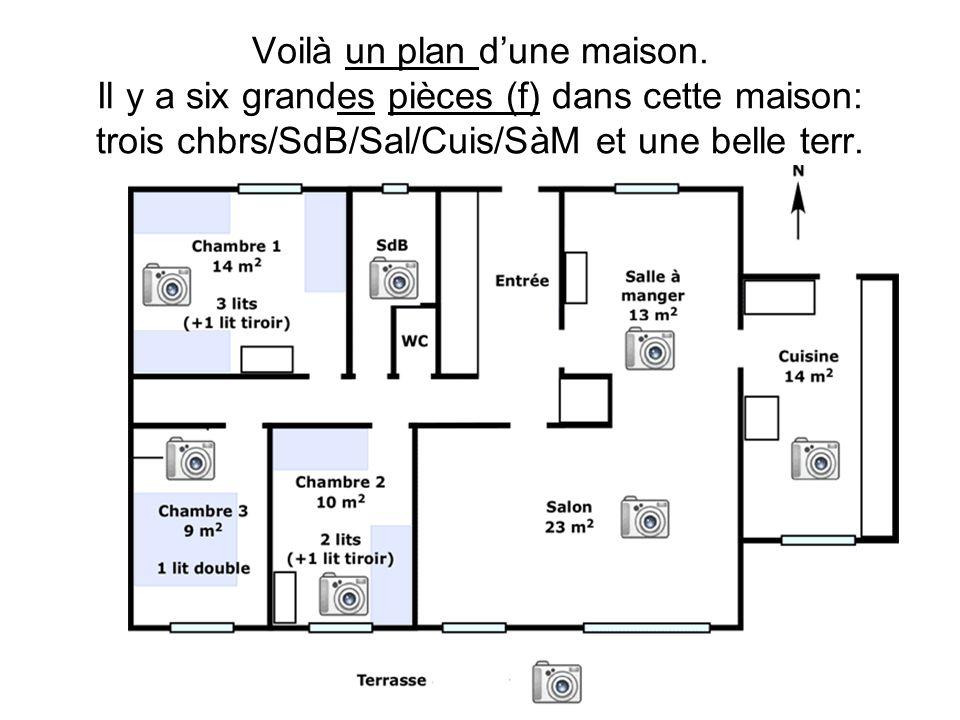 Voilà un plan dune maison. Il y a six grandes pièces (f) dans cette maison: trois chbrs/SdB/Sal/Cuis/SàM et une belle terr.