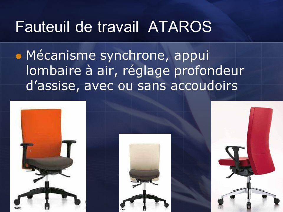 Fauteuil de travail ATAROS Mécanisme synchrone, appui lombaire à air, réglage profondeur dassise, avec ou sans accoudoirs