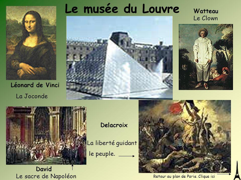 Léonard de Vinci La Joconde Watteau Le Clown Le musée du Louvre Delacroix David Le sacre de Napoléon La liberté guidant le peuple. Retour au plan de P