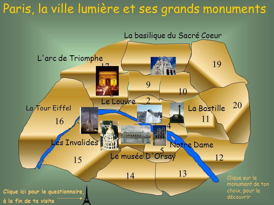 1 2 3 4 5 6 7 8 9 10 11 12 13 14 15 16 17 18 19 20 Paris, la ville lumière et ses grands monuments L'arc de Triomphe La Tour Eiffel La basilique du Sa