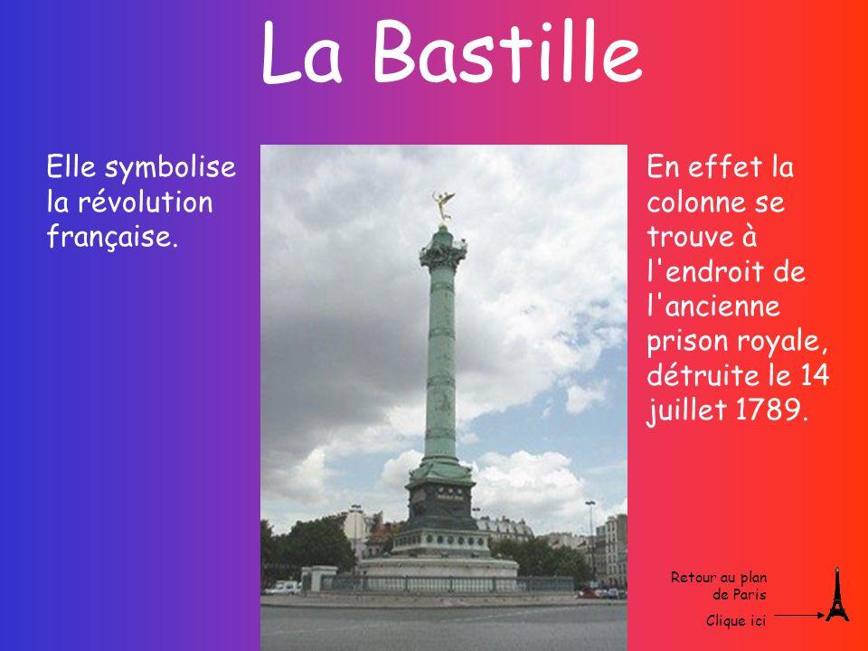 La Bastille En effet la colonne se trouve à l'endroit de l'ancienne prison royale, détruite le 14 juillet 1789. Elle symbolise la révolution française