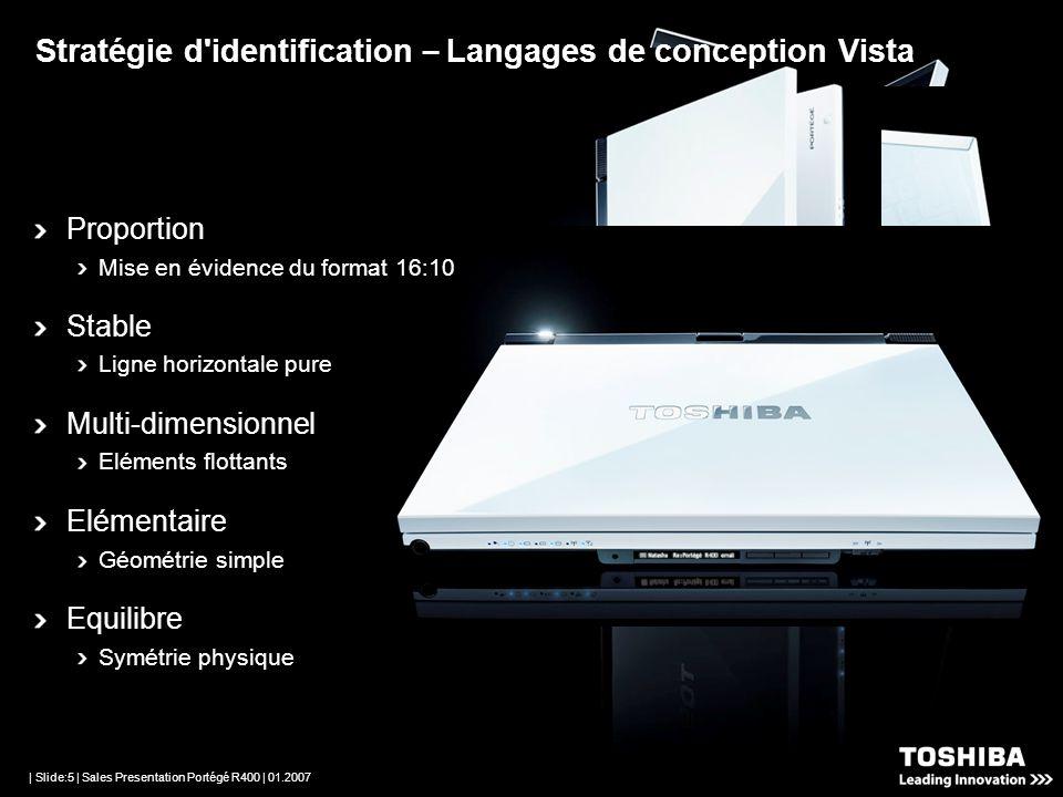| Slide:4 | Sales Presentation Portégé R400 | 01.2007 Développé par Toshiba et Microsoft pour la meilleure expérience de Windows Vista Ultimate Etroit