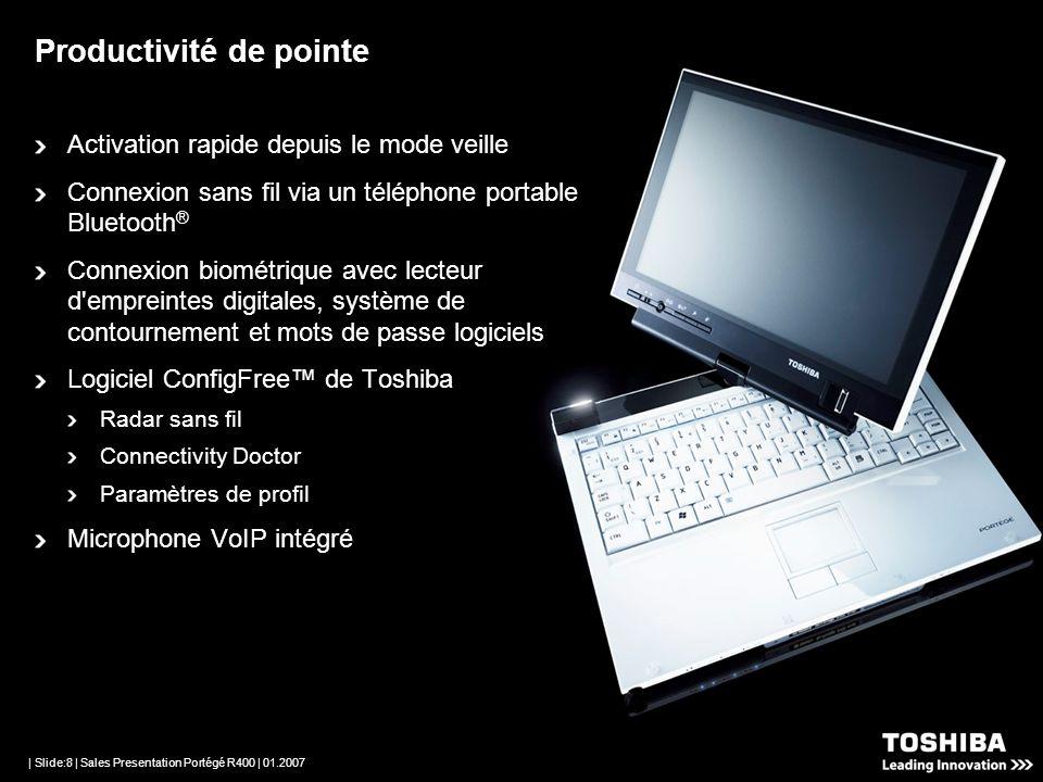 | Slide:7 | Sales Presentation Portégé R400 | 01.2007 Premier ordinateur portable au monde utilisant les notifications actives de Microsoft pour une s