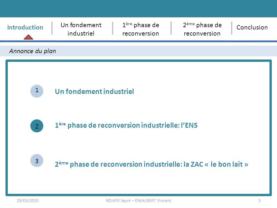 3 Annonce du plan Un fondement industriel 1 ère phase de reconversion industrielle: lENS 1 2 3 Introduction Un fondement industriel 1 ère phase de rec