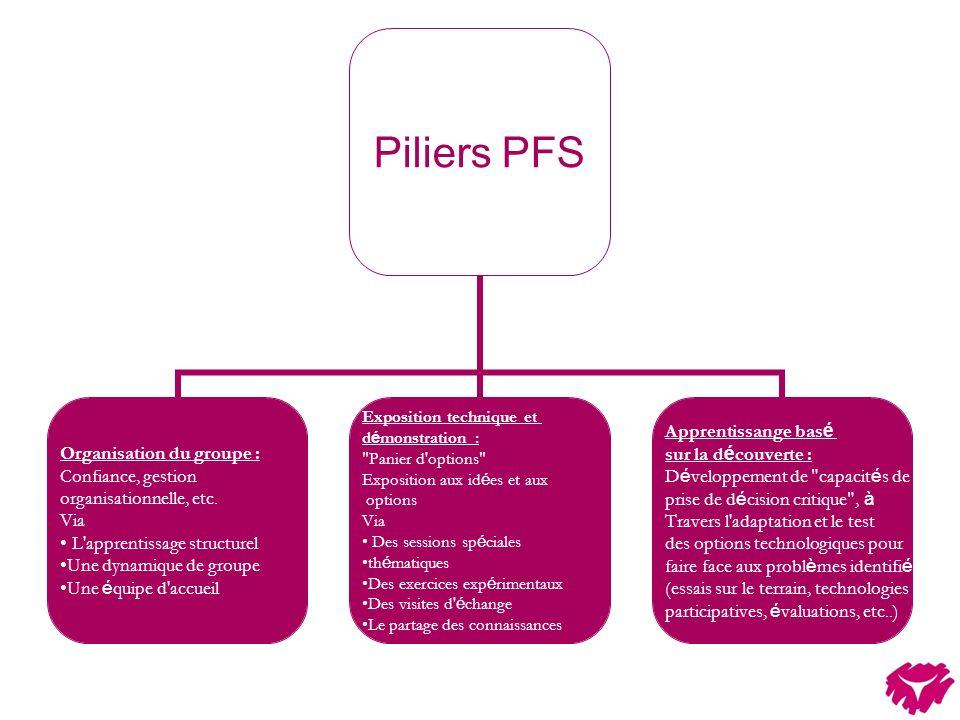 Piliers PFS Organisation du groupe : Confiance, gestion organisationnelle, etc. Via L'apprentissage structurel Une dynamique de groupe Une é quipe d'a
