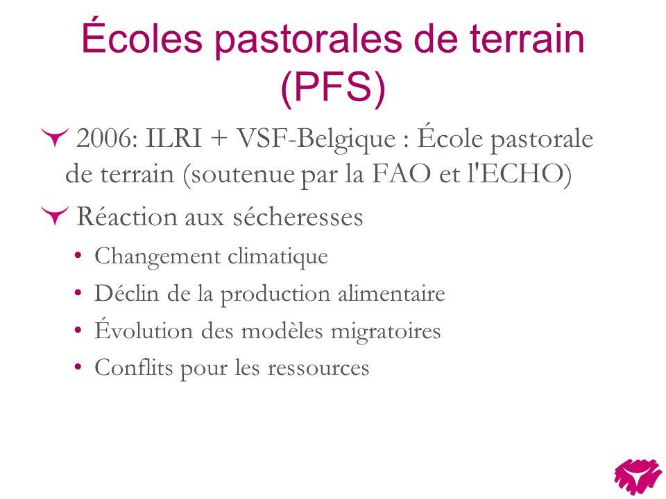Écoles pastorales de terrain (PFS) 2006: ILRI + VSF-Belgique : École pastorale de terrain (soutenue par la FAO et l ECHO) Réaction aux sécheresses Changement climatique Déclin de la production alimentaire Évolution des modèles migratoires Conflits pour les ressources