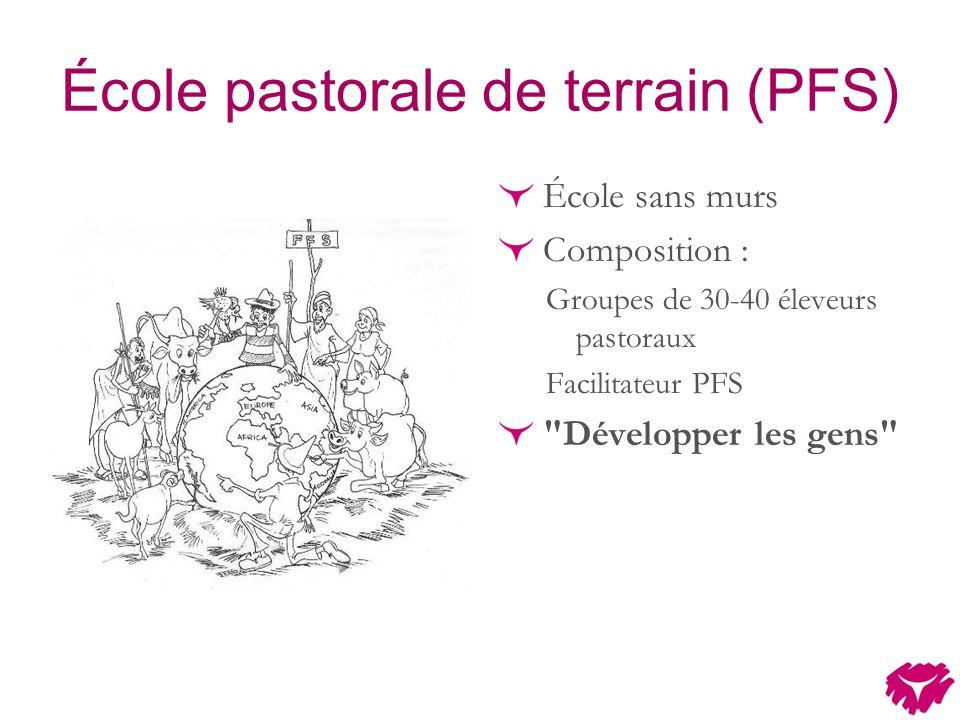 École pastorale de terrain (PFS) École sans murs Composition : Groupes de 30-40 éleveurs pastoraux Facilitateur PFS Développer les gens