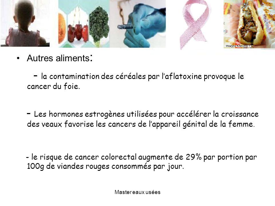 Autres aliments : - la contamination des céréales par laflatoxine provoque le cancer du foie. - Les hormones estrogènes utilisées pour accélérer la cr