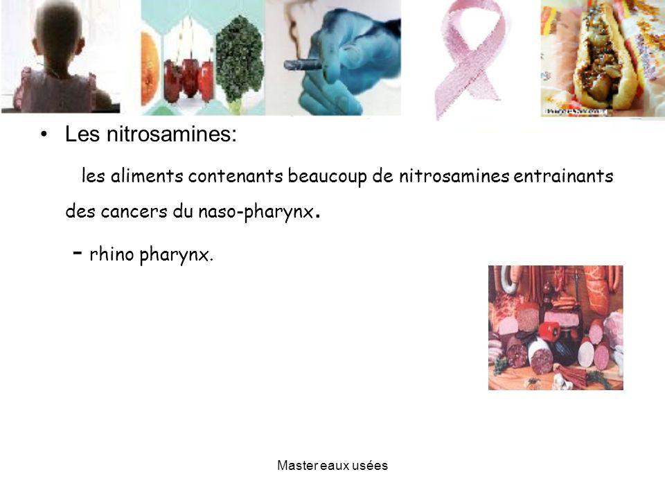 Les nitrosamines: les aliments contenants beaucoup de nitrosamines entrainants des cancers du naso-pharynx. - rhino pharynx. Master eaux usées