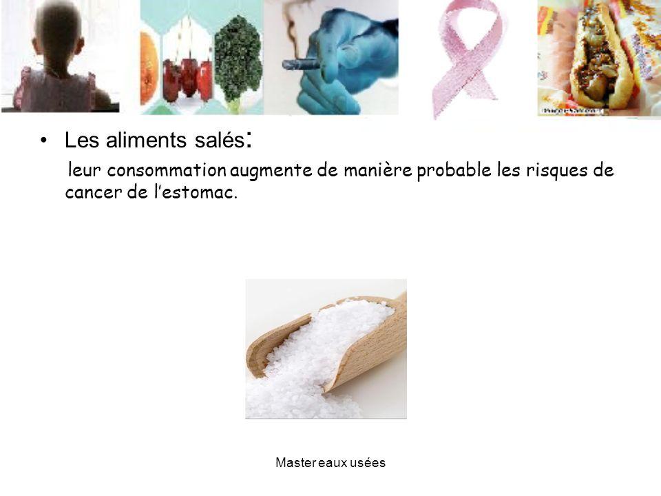 Les aliments salés : leur consommation augmente de manière probable les risques de cancer de lestomac. Master eaux usées