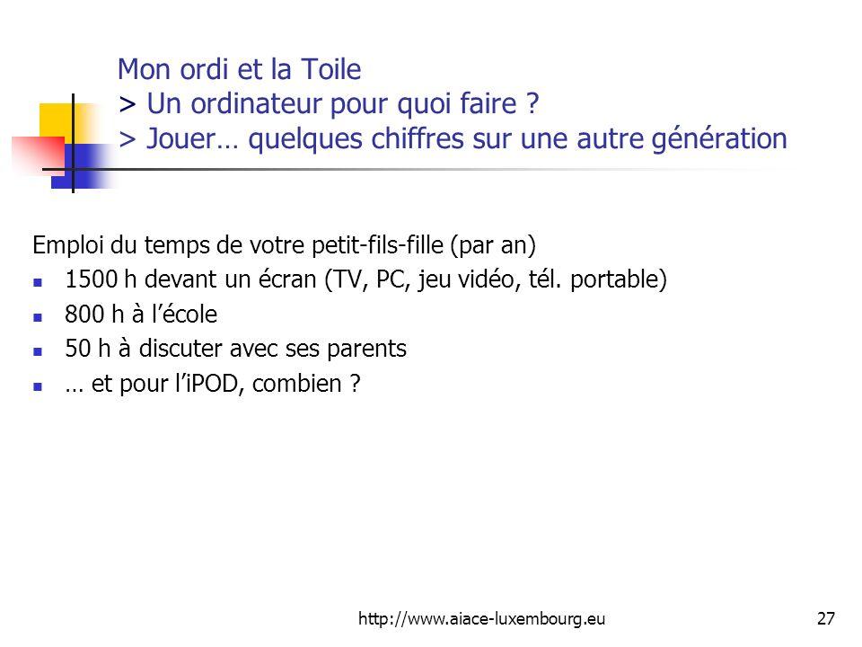 http://www.aiace-luxembourg.eu27 Mon ordi et la Toile > Un ordinateur pour quoi faire ? > Jouer… quelques chiffres sur une autre génération Emploi du