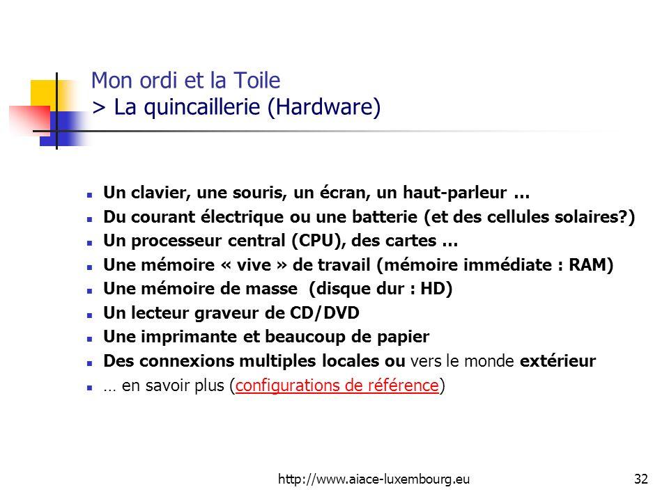 http://www.aiace-luxembourg.eu32 Mon ordi et la Toile > La quincaillerie (Hardware) Un clavier, une souris, un écran, un haut-parleur … Du courant éle