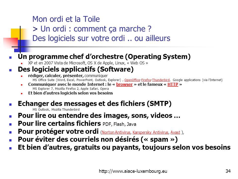 http://www.aiace-luxembourg.eu34 Mon ordi et la Toile > Un ordi : comment ça marche ? Des logiciels sur votre ordi.. ou ailleurs Un programme chef dor