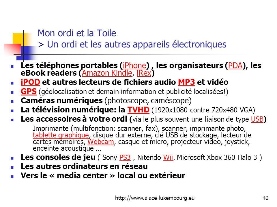 http://www.aiace-luxembourg.eu40 Mon ordi et la Toile > Un ordi et les autres appareils électroniques Les téléphones portables (iPhone), les organisat