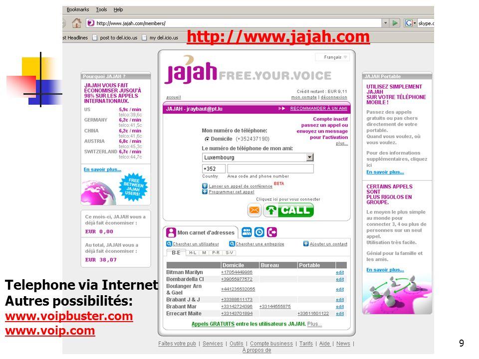 http://www.aiace-luxembourg.eu9 www.jajah.com http://www.jajah.com Telephone via Internet Autres possibilités: www.voipbuster.com www.voip.com