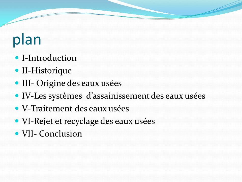 plan I-Introduction II-Historique III- Origine des eaux usées IV-Les systèmes dassainissement des eaux usées V-Traitement des eaux usées VI-Rejet et r