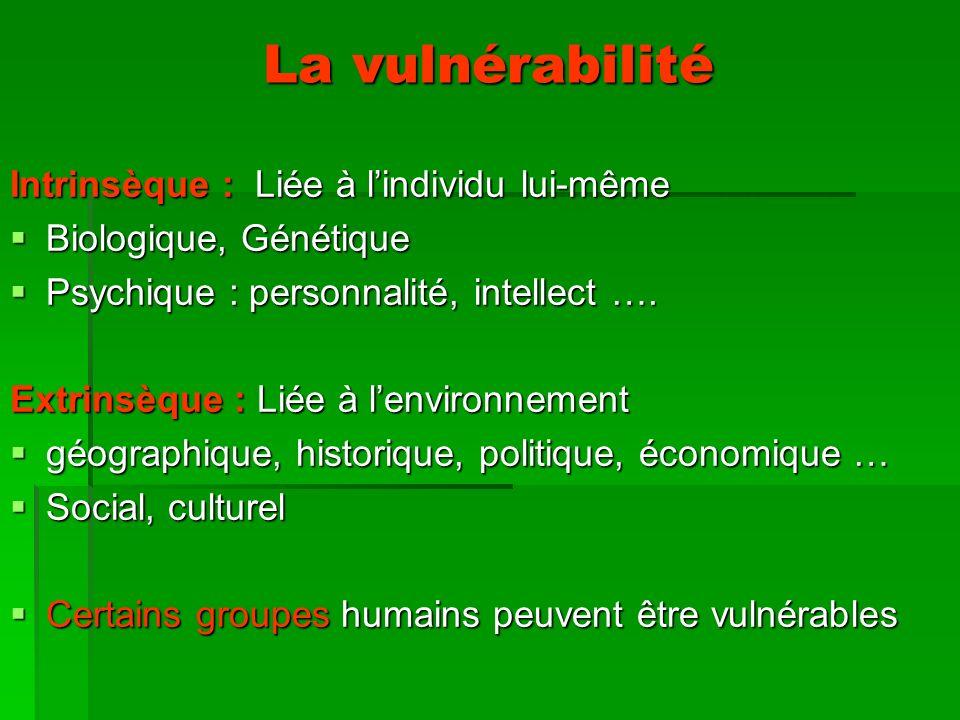 La vulnérabilité Intrinsèque : Liée à lindividu lui-même Biologique, Génétique Biologique, Génétique Psychique : personnalité, intellect ….