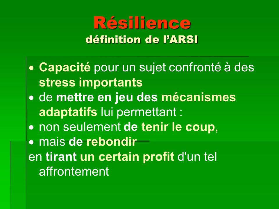 Résilience définition de lARSI Capacité pour un sujet confronté à des stress importants de mettre en jeu des mécanismes adaptatifs lui permettant : non seulement de tenir le coup, mais de rebondir en tirant un certain profit d un tel affrontement