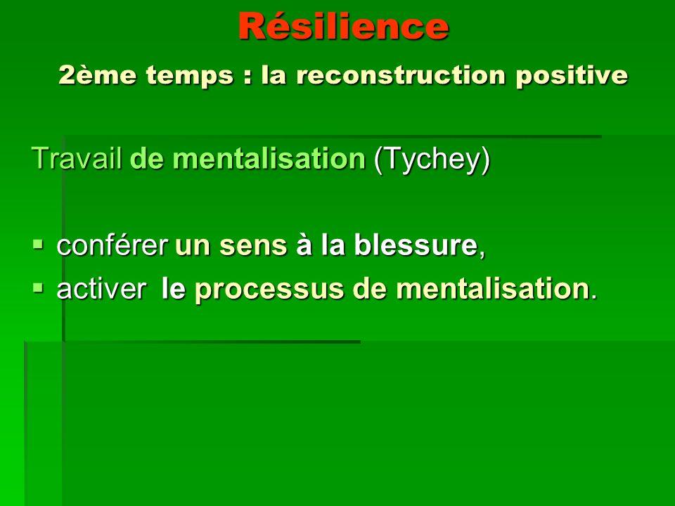 Résilience 2ème temps : la reconstruction positive Travail de mentalisation (Tychey) conférer un sens à la blessure, conférer un sens à la blessure, activer le processus de mentalisation.