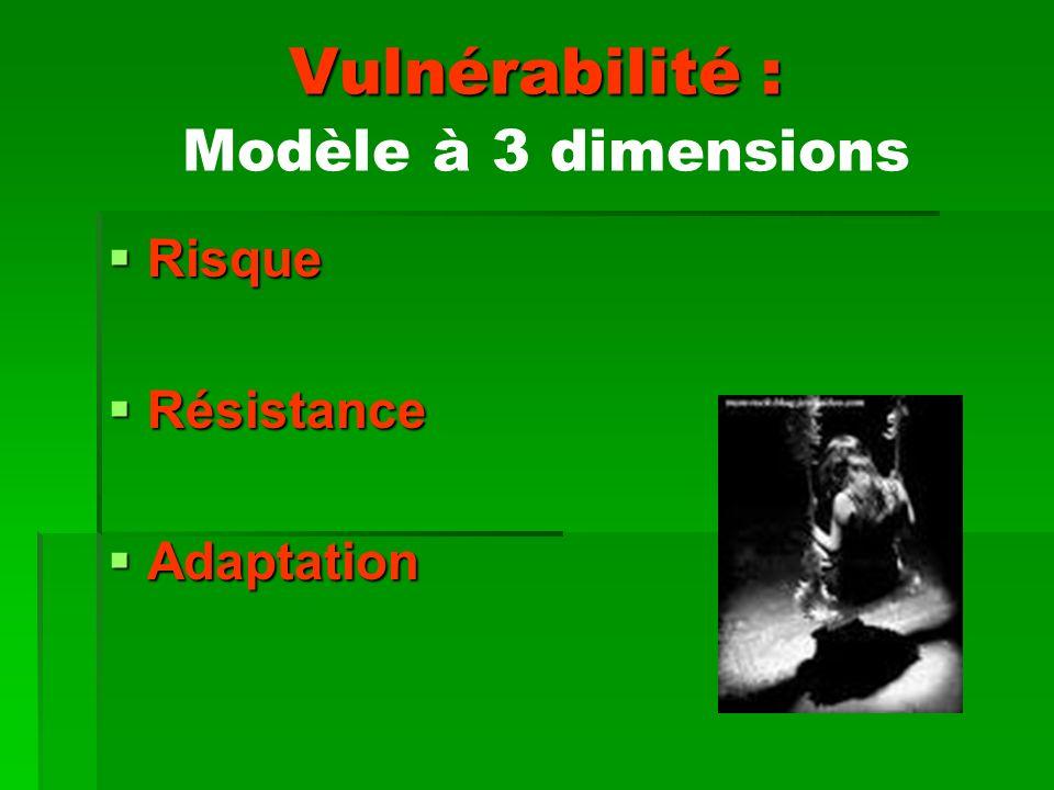 Vulnérabilité : Vulnérabilité : Modèle à 3 dimensions Risque Risque Résistance Résistance Adaptation Adaptation