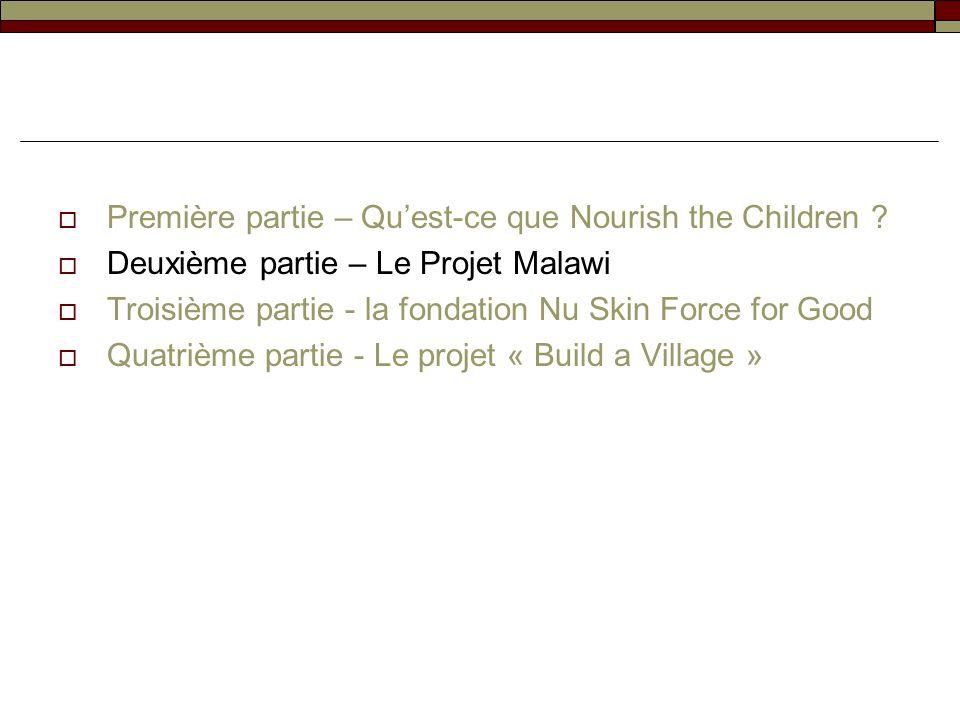 Première partie – Quest-ce que Nourish the Children ? Deuxième partie – Le Projet Malawi Troisième partie - la fondation Nu Skin Force for Good Quatri