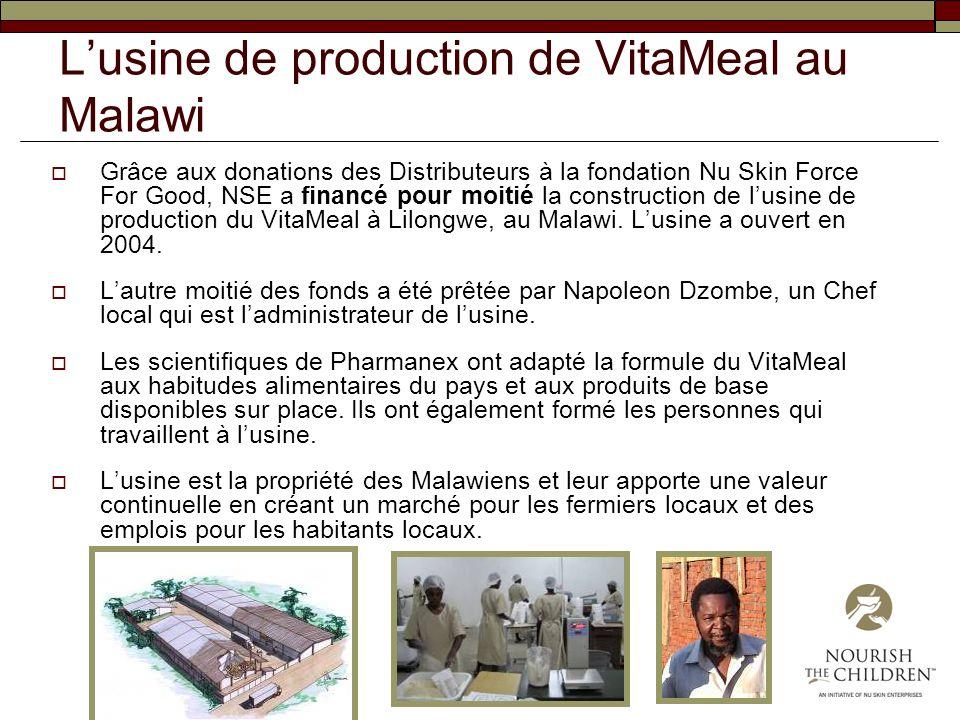 Lusine de production de VitaMeal au Malawi Grâce aux donations des Distributeurs à la fondation Nu Skin Force For Good, NSE a financé pour moitié la c