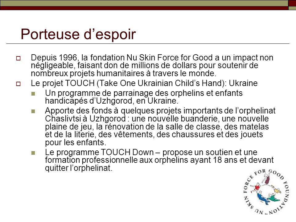 Depuis 1996, la fondation Nu Skin Force for Good a un impact non négligeable, faisant don de millions de dollars pour soutenir de nombreux projets hum