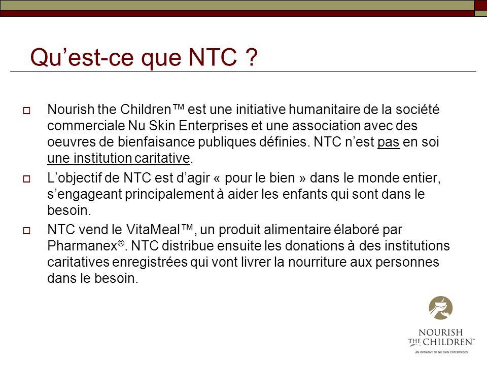Quest-ce que NTC ? Nourish the Children est une initiative humanitaire de la société commerciale Nu Skin Enterprises et une association avec des oeuvr