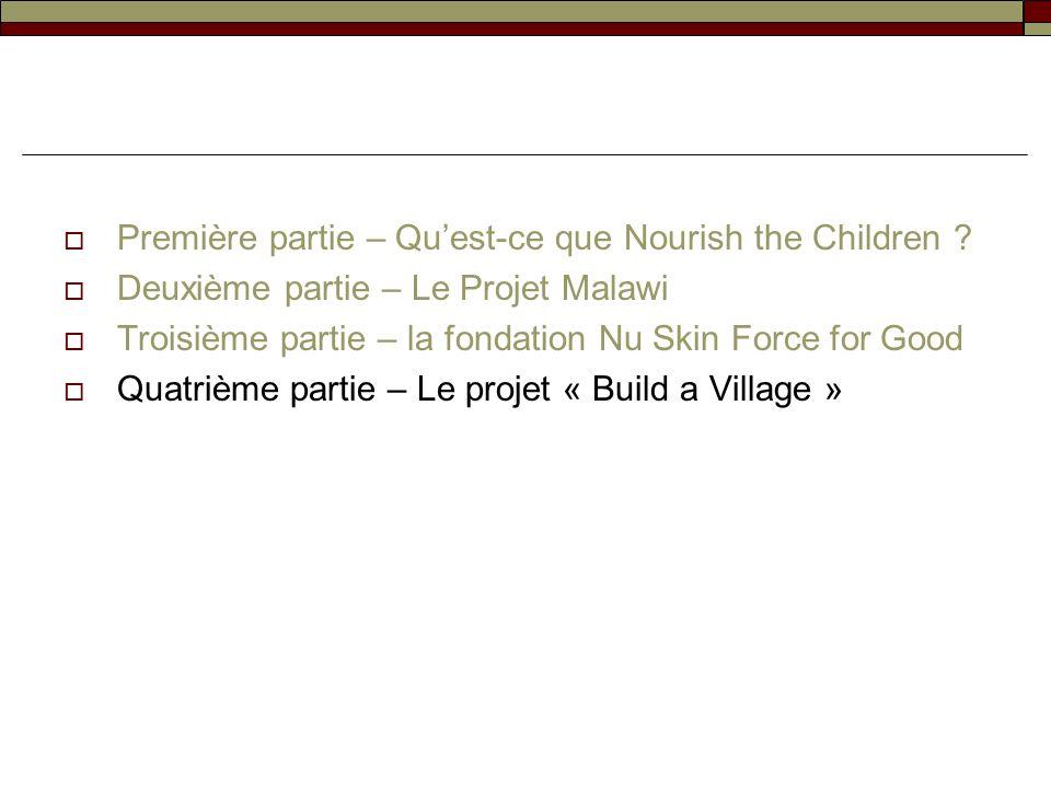 Première partie – Quest-ce que Nourish the Children ? Deuxième partie – Le Projet Malawi Troisième partie – la fondation Nu Skin Force for Good Quatri