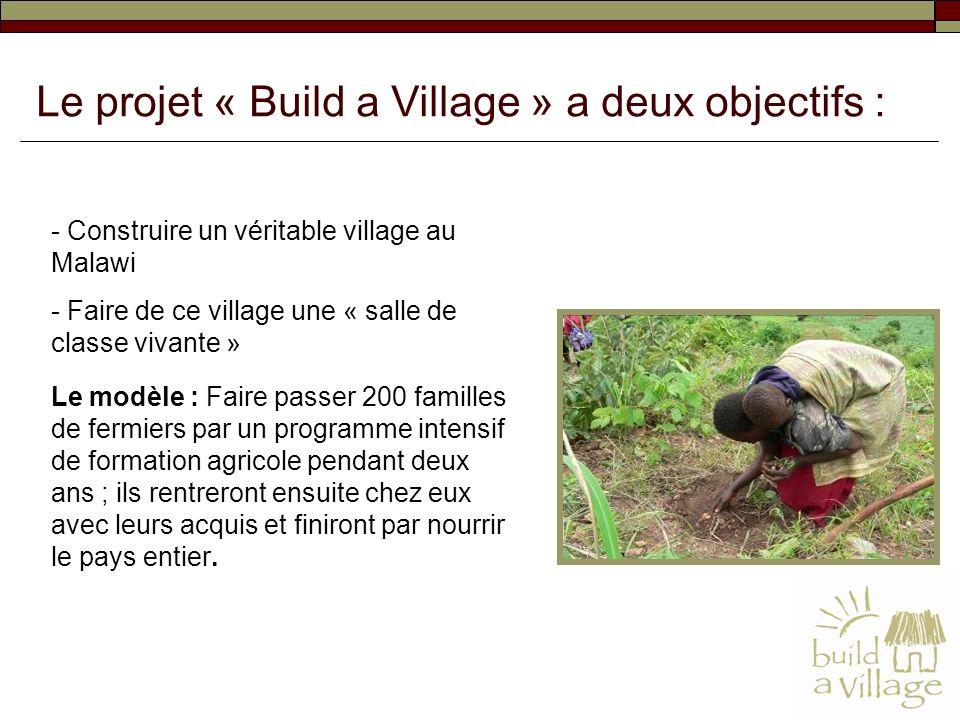 - Construire un véritable village au Malawi - Faire de ce village une « salle de classe vivante » Le modèle : Faire passer 200 familles de fermiers pa